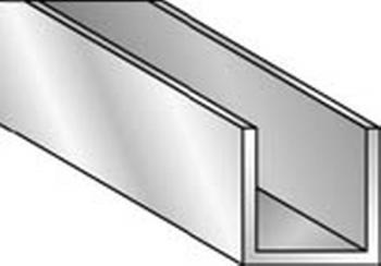 Profilo in alluminio brillantato forma U dimensioni 10 x 10 x 1 mm