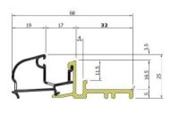 Profilo alluminio AL 712 finitura Bronzo Chiaro