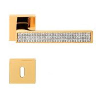 Maniglia per porta Linea Calì Serie Zen Mesh con Cristalli Swarovski con bocchette e foro normale Oro Zecchino