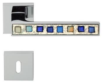 Maniglia per porta Linea Calì serie Brera con rosetta e bocchetta foro normale Cromo Satinato