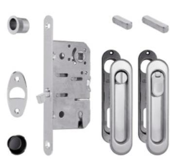 Alban Giacomo AGB kit maniglie e serratura per porte scorrevoli Scivola Ovale Cromo Lucido
