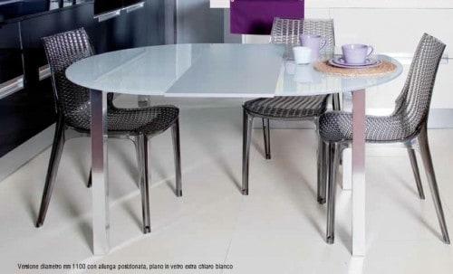 tavolo da cucina frisbee rotondo 1100mm allungabile da 4 a 6 sedute struttura alluminio brill