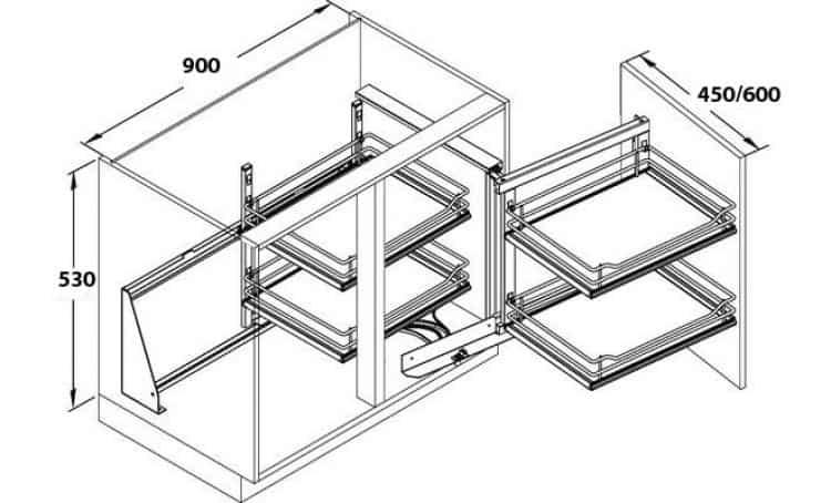 Telaio waco meccanismo estraibile per mobili base ad for Cestelli estraibili per cucina ad angolo