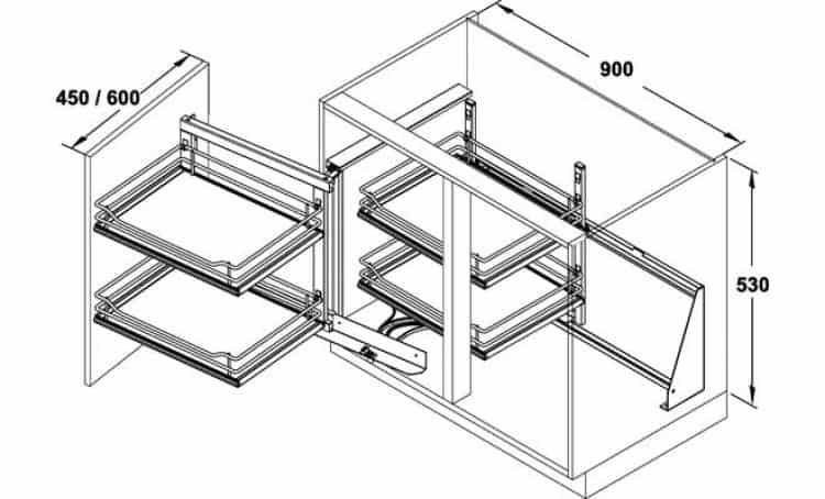 Telaio WaCo meccanismo estraibile per mobili base ad angolo ...
