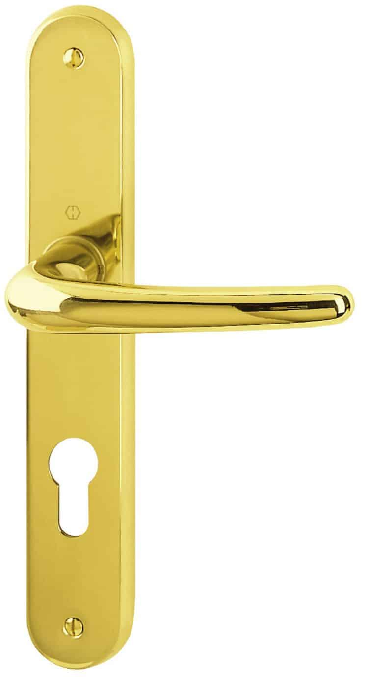 Maniglie hoppe maniglia su placca serie nostra seattle for Maniglie porte oro