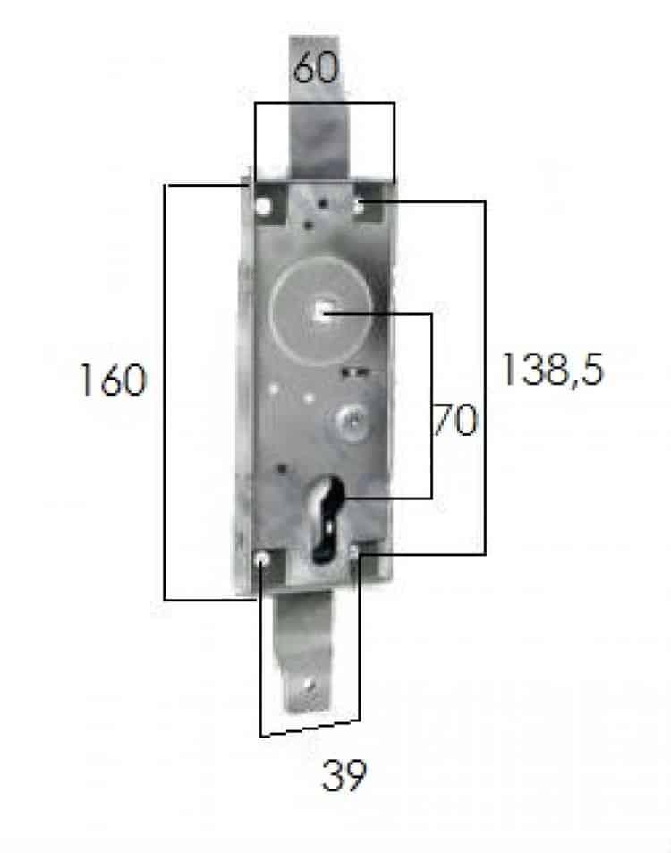 Serratura basculanti q 8 a profilo europeo e cilindro for Serratura bloccata chiave non gira