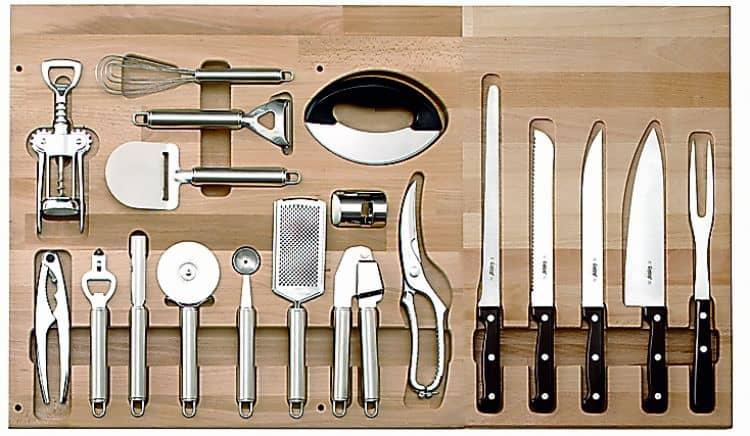 set da 14 accessori da cucina in inox kit 5 coltelli per cestone da 900