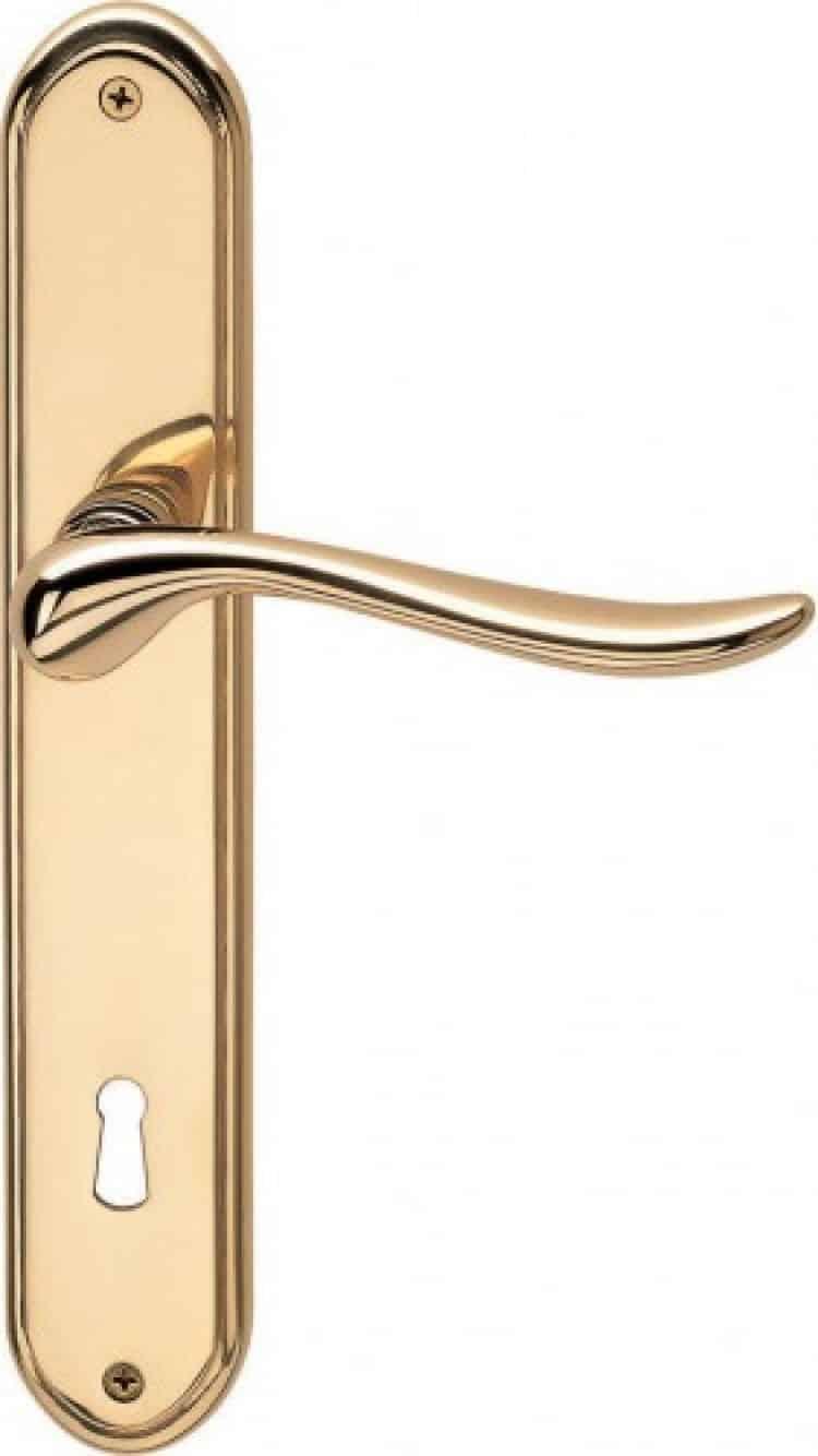 Valli valli serie h 165 germana maniglia per porta interna placca oro lucido con foro normale - Prezzo porta interna ...