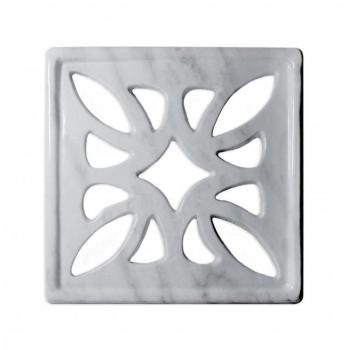 Griglia Aerazione Design AirDecor Flower diametro supporto a muro 120 mm Finitura Marmo Carrara