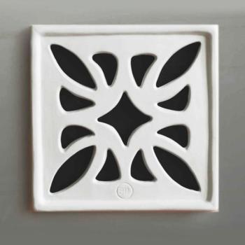 Griglia Aerazione Design AirDecor FLOWER diametro supporto a muro 100 mm Bianca