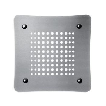Griglia Aerazione Design AirDecor Luna diametro supporto a muro 100 mm Acciaio Satinato - CALORE