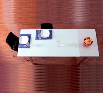 Tavolo da cucina BASIC 800 x 1600 mm allungabile a 2100 mm piano in  Vetro Float Bianco White