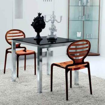 Tavolo da cucina Cubotto 800 x 800 mm Aperto 800x1400 Struttura Alluminio Brill + Vetro Float Bianco
