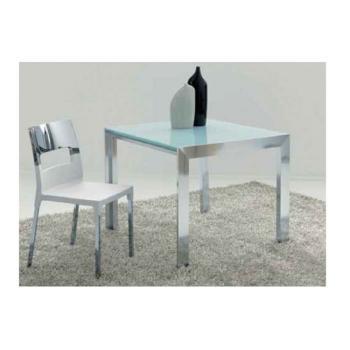 Tavolo da cucina Double Chiuso 900 x 900 mm Aperto 900x1800 Struttura Alluminio Brill + Vetro Float Bianco