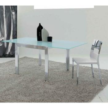 Tavolo da cucina Double Chiuso 900 x 1100 mm Aperto 900x2200 Struttura Alluminio Bianco + Vetro Float Bianco