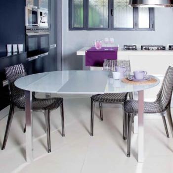 Tavolo da cucina Frisbee rotondo Ø 1100mm allungabile da 4 a 6 sedute Struttura Alluminio Brill + Vetro Float Bianco