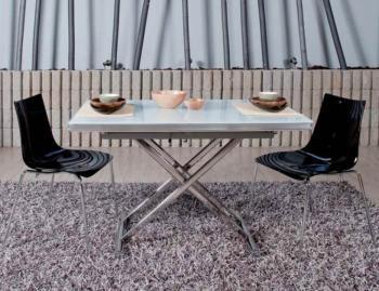 Tavolo in vetro OKEY DOKEY 1200 x 750 mm allungabile fino a 2040 mm Sistema UP&DOWN struttura Alluminio Brill e piano in Vetro Float Bianco