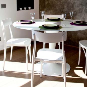 Tavolo rotondo in vetro PICCADILLY Ø 1100 mm allungabile 1100 x 1390 mm struttura gamba verniciata Bianco  e piano in Vetro Float Bianco