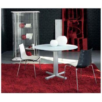 Tavolo per soggiorno rotondo allungabile SPIRIT Ø 1100 mm allungabile a 1390 mm struttura Alluminio e piano in Vetro Extra White