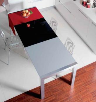Tavolo da cucina Twin Larghezza 800 mm Lunghezza 1420 mm allungabile fino a 2220 mm Struttura Alluminio Brill + Vetro Float Bianco