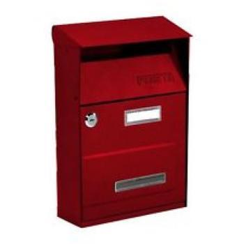 Cassetta Postale Alubox EFFE T 22x32.5x11 cm modello con tetto in lamiera elettrozincata verniciato Rosso