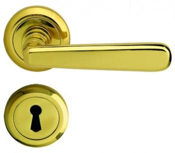 Bal Becchetti  maniglia per porta interna con rosetta bocchetta ottone lucido ver