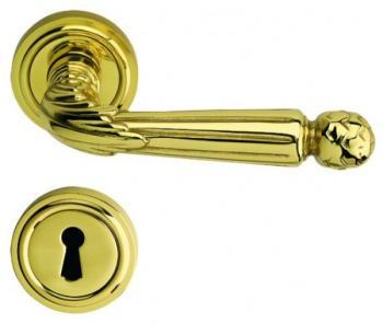 Bal Becchetti  maniglia per porta interna rosetta bocchetta ottone lucido verncia