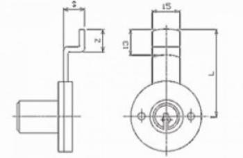 Cas Meroni Securital serratura cilindro mm 17 x 20 catenaccio zancato nichelato lucido