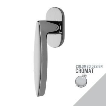 Maniglia moderna DK per finestre Colombo Design GAIA con rosetta ovale finitura Cromo Opaco