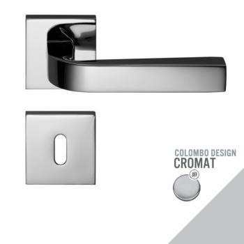 Maniglia moderna per porta Colombo Design PRIUS con rosetta bocchetta foro Normale finitura Cromo Opaco
