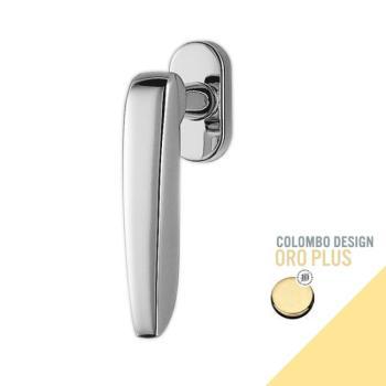 Maniglia moderna DK per finestre Colombo Design DAYTONA con rosetta ovale finitura Oro Lucido