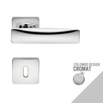 Maniglia moderna per porta Colombo Design BOND con rosetta bocchetta foro Normale finitura Cromo Opaco