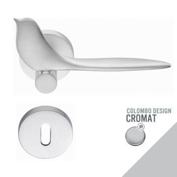 Maniglia moderna per porta Colombo Design TWITTY con rosetta bocchetta foro Normale finitura Cromo Opaco