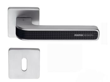 Maniglia per porta Colombo Design serie Tecno con rosetta foro Normale finitura Cromat/Carbonium