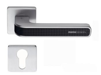 Maniglia per porta Colombo Design serie Tecno con rosetta foro Yale finitura Cromat / Carbonium