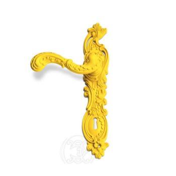 Maniglia per porta su placca Enrico Cassina su placca foro yale Giallo