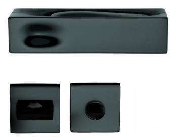 DND serie INTAKE Maniglia su rosetta e nottolino RDN17+A finitura OTTONE VERNICIATO NERO