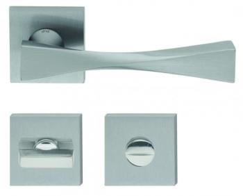 DND serie TWIST 02 Maniglia su rosetta e nottolino RDN14+A finitura POWER CROMO SATINATO