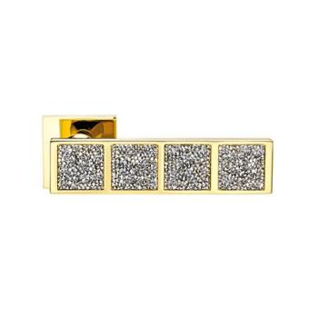 Maniglia per porta DND Martinelli serie Brilla Rocks Due con Cristalli Swarovski BIANCHI foro normale ORO