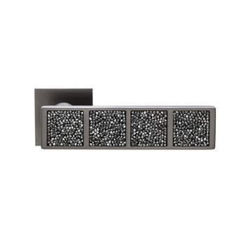 Maniglia per porta DND Martinelli serie Brilla Rocks Due con Cristalli Swarovski NERI foro normale GRAFITE SATINATO