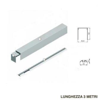 Kit componenti BINARIO da appoggio a parete e a terra 3000 mm per 1 ANTA