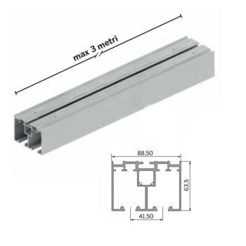 Kit componenti binario sospeso da 3000 mm fissaggio a soffitto per 2 ANTE
