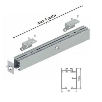 Kit componenti binario sospeso da 4000 mm fissaggio a parete per 1 ANTA
