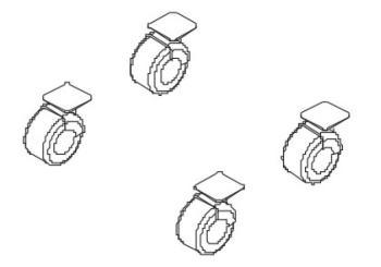 Set 4 ruote per ripiani e contenitori Altezza ruote 80 mm