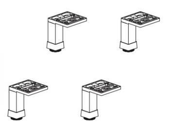 Set piedini in alluminio per ripiani e contenitori 4 pezzi altezza 80 mm