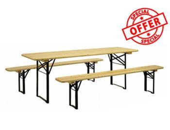 Set Birreria in legno 3 pezzi TAVOLO 220x80 cm + 2 PANCHE COMPLETO