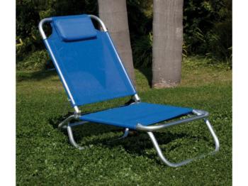 Sedia in alluminio da spiaggia in acciaio e textilene Blu Papillon