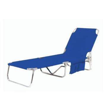 Lettino da spiaggia in acciaio e poliestere/PVC Blu Papillon