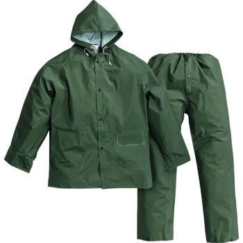 Impermeabile in PVC giacca/pantaloni colore verde taglia M