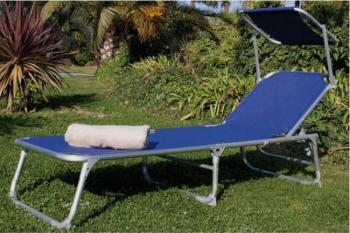 Lettino da spiaggia blu con parasole Playa Papillon